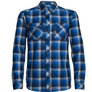 Icebreaker Men's Lodge Long Sleeve Flannel Shirt - Largo/Midnight Navy Plaid