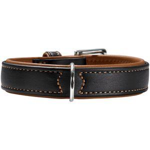 Hunter Germany Canadian Elk Leather Dog Collar - Black/Cognac