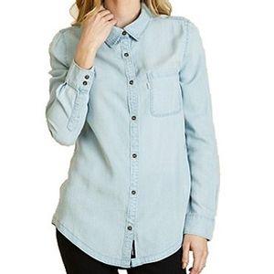 Tentree Women's Fernie Long Sleeve Top - Light Wash Blue