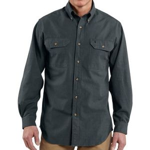 Carhartt Men's Fort Solid Long Sleeve Shirt - Black Chambray