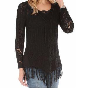 Wrangler Women's V-Neck Sweater with Fringe - Black