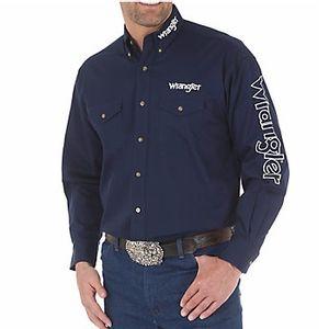 Wrangler Men's Western Logo Long Sleeve Button Down Solid Shirt - Navy