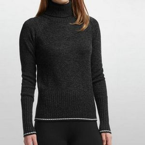 Icebreaker Women's Aura Long Sleeve Turtleneck Sweater - Black/Jet Heather