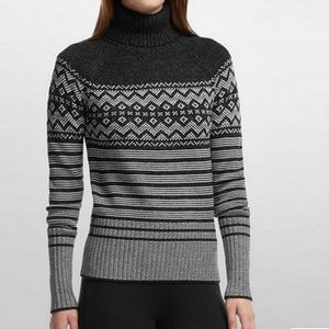 Icebreaker Women's Aura Long Sleeve Turtleneck - Black/Jet Heather/Bone Heather
