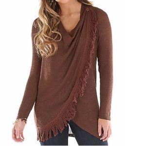 Wrangler Women's Long Sleeve Asymmetrical Sweater - Brown