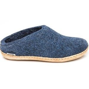 Glerups Unisex Slipper with Leather Sole - Denim