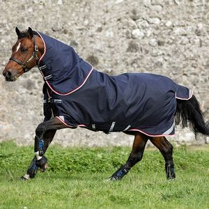 Rambo Duo Bundle Turnout Blanket - Navy/Beige/Red