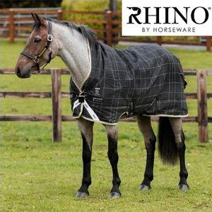 Rhino Wug 250g Vari-Layer Turnout Blanket - Black/Grey/White Check with Safari