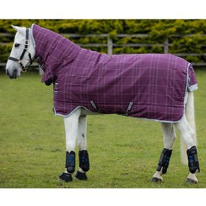 Rhino Pony All-In-One 400g Turnout Blanket - Berry/Grey/White Check with Grey