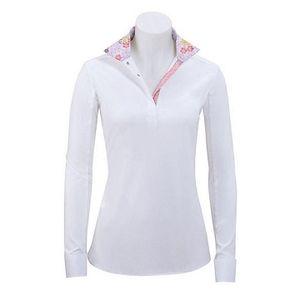 RJ Classics Women's Rebecca Show Shirt - White with Pink Floral Trim