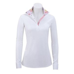 RJ Classics Women's Rebecca Show Shirt - White with Pink Floral Trim