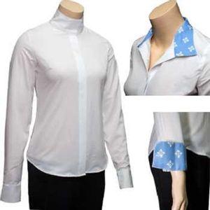 RJ Classics Women's Spruce Show Shirt - White with Blue Floral Trim