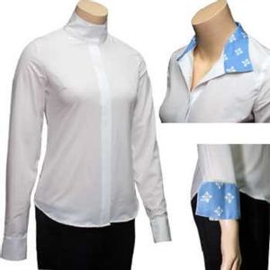 RJ Classics Women's Spruce Show Shirt - White with Blue Floral Trim