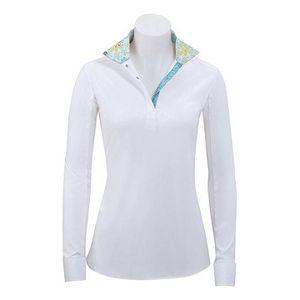 RJ Classics Girls Rebecca Show Shirt - White with Green Floral Trim