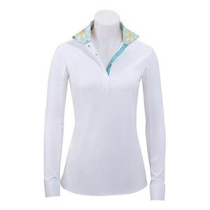 RJ Classics Girls Rebecca Show Shirt - White with Green Floral Trim