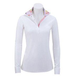 RJ Classics Girls Rebecca Show Shirt - White with Pink Floral Trim