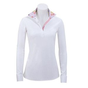 RJ Classics Girls Rebecca Show Shirt - White with Pink Floral Trim