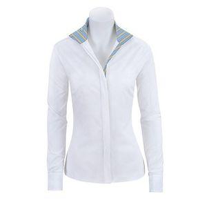 RJ Classics Girls Spruce Show Shirt - White with Blue Stripe Trim