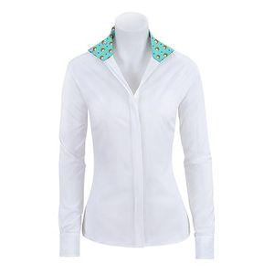 RJ Classics Girls Spruce Show Shirt - White with Hedgehog Trim