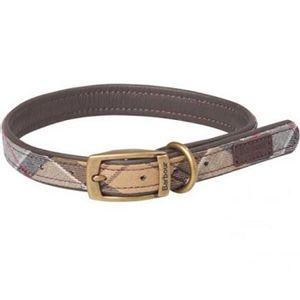 Barbour Tartan/Webbing Dog Collar - Pink/Grey