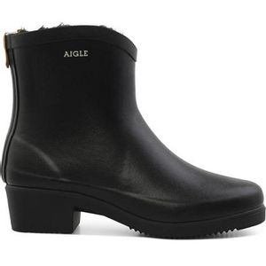 Aigle Women's Miss Juliette Fur Rubber Ankle Boots - Black