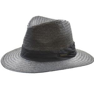 Crown Cap Raffia Panama Fedora - Black