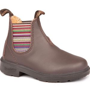 Blundstone Kids Blunnies Boots(1413) - Brown with Striped Elastic