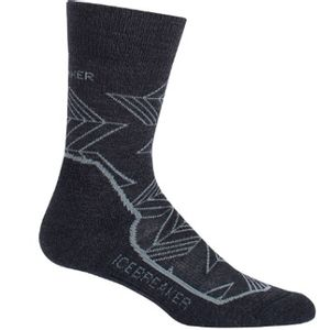 Icebreaker Women's Hike+ Light Crew Intersecting Arrows - Jet Heather/Twister Heather