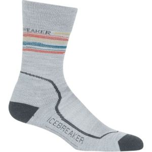 Icebreaker Women's Hike+ Light Crew Basalt Stripe Socks - Blizzard Heather/Monsoon