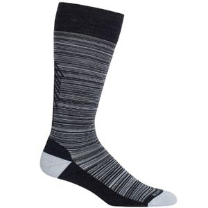Icebreaker Women's Lifestyle Light Over the Calf Tree Line Socks - Jet Heather/Snow