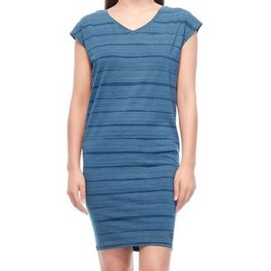 Icebreaker Women's Yanni Combed Lines Tee Dress - Prussian Blue/Snow