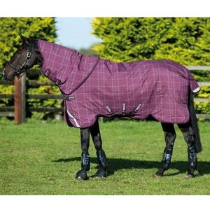 Rhino Plus 250g Pony Turnout Blanket - Berry/Grey/White Check with Berry