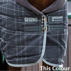 Rhino 150g Stable Hood - Charcoal/White Check with Grey