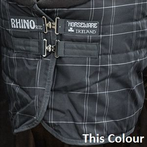 Rhino 150g Stable Hood - Charcoal/White Check with Charcoal