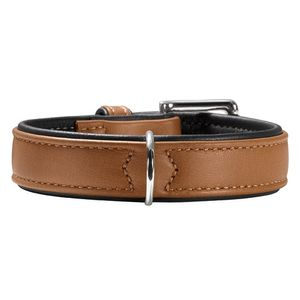 Hunter Germany Canadian Elk Leather Dog Collar - Cognac/Black