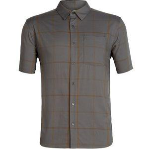 Icebreaker Men's Compass Short Sleeve Shirt - Timberwolf/Tobacco/Plaid