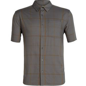 Icebreaker Men's Compass Short Sleeve Shirt - Timberwolf/Tobacco/Plaid