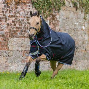 Amigo Bravo 12 Plus Pony Rainsheet - Navy/Red/Blue