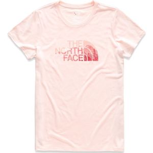 The North Face Women's Short Sleeve Half Dome Tri-Blend Crew Tee - Pink Salt Heather/Spiced Coral Multi