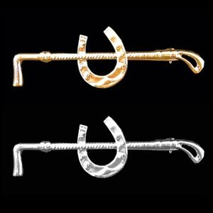 Whip and Horse Shoe Stock Pin - Silver