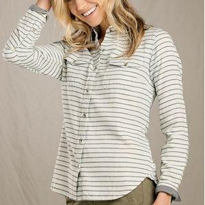 Toad & Co Women's Indigo Skye Long Sleeve Shirt - Oatmeal Stripe