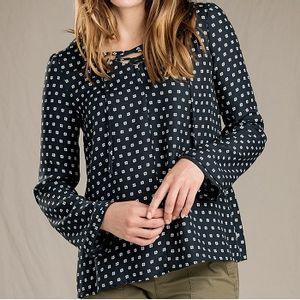 Toad & Co Women's Hillrose Long Sleeve Shirt - Black Mod Dot Print