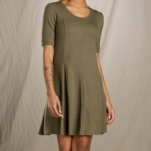 Toad & Co Women's Daisy Rib Cafe Slv Dress - Rustic Olive