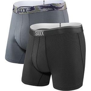 Saxx Men's Quest Boxer Brief 2 Pack - Black/Dark Charcoal