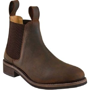 Old West Men's Leather Round Toe Chelsea Boots