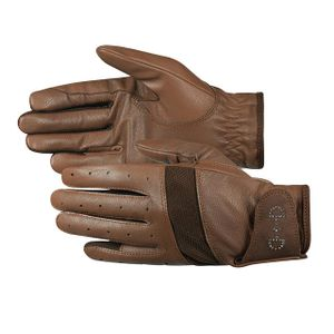 Horze Women's Leather Mesh Glove - Brown