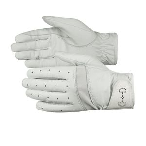 Horze Women's Leather Mesh Glove - White