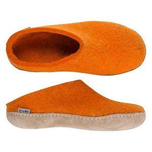Glerups Unisex Slippers with Leather Sole - Orange