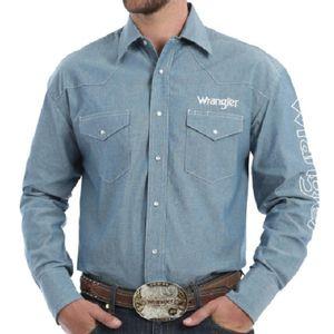 Wrangler Men's Long Sleeve Logo Shirt - Blue Chambray