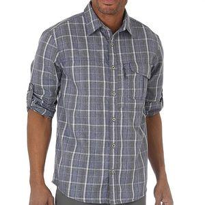 Wrangler Men's Outdoor Wicking Plaid Utility Shirt - Blue